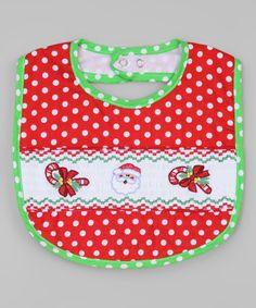 Loving this Red & Green Santa Smocked Bib on #zulily! #zulilyfinds