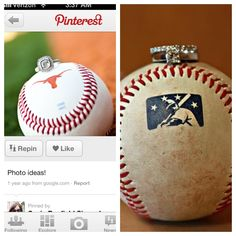 Baseball themed wedding ring shots
