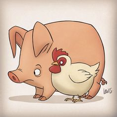 I like lots of different animals, but my favorites are breakfast. #bacon #breakfast #pig #chicken #baconandeggs