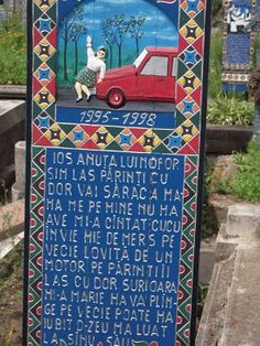"""I've r ecently learned about a unique and curious cemetery in Săpânţa, Romania.* Cimitirul Vesel translates to """" Merry Cemetery ,"""" and t. Cemetery Art, Merry, Graveyards, Explore, Adventure, History, Holiday Decor, City, Illustration"""