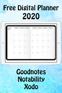 Free Digital Planner for 2020 Planner Free, Planner Apps, Monthly Planner Printable, Printable Calendar Template, Planner Template, Fitness Planner, Schedule Templates, Weekly Planner, Planners