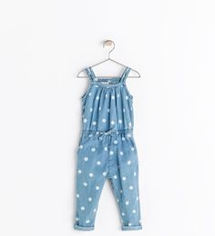 Zara baby - polka dot denim jumpsuit with heart buttons on the back. It's all about the details