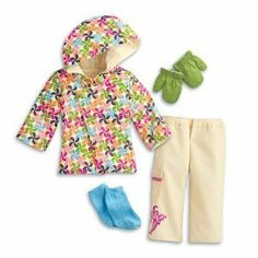 """American Girl MY AG Snowboard Outfit by American Girl. $48.95. She'll """"hit the slopes"""" in cool style with this fun and funky snowboard outfit! It features: A fully lined snowboard jacket with a multicolored pinwheel print, a hood, and an asymmetrical front closure Matching snow pants with a pocket and a colorful floral graphic on the right leg Knit socks and green mittens ensure she stays warm no matter how fast she flies down the mountain! Includes a """"Kind"""" square charm for the ..."""