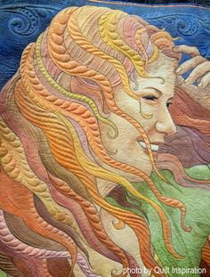 detail, Windblown by Maria Elkins. Photo by Quilt Inspiration: SAQA People and Portraits art quilt exhibit 2016