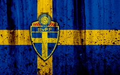 Download wallpapers Sweden national football team, 4k, logo, grunge, Europe, football, stone texture, soccer, Sweden, European national teams