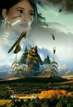 Bear Spirit watches over Lakota encampment Native American Wolf, Native American Paintings, Native American Pictures, Native American Wisdom, Native American Beauty, Indian Pictures, American Indian Art, Native American History, American Indians
