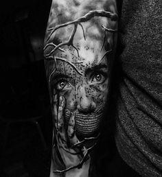 Leg tattoos, sleeve tattoos, body art tattoos, tattoos for guys Creepy Tattoos, 3d Tattoos, Badass Tattoos, Body Art Tattoos, Tattoos For Guys, Cool Tattoos, Mädchen Tattoo, Wolf Tattoo Sleeve, Arm Band Tattoo