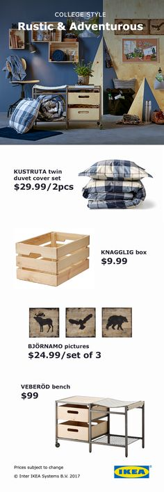 College is an adventure! Transform your dorm with patterns reminiscent of nature, like the IKEA RAGGISAR baskets.