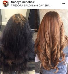 From black box color to session of color correction, Going blonde, hair color makeover, Before-After Hair Color Formulas, Going Blonde, Copper Hair, Level 3, Hair Painting, Aveda, Black Box, Color Correction, Spa Day