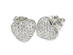 All White Gold Diamond pave heart shape stud earring  http://www.luciecampbell.com/earrings/All/1311--7/  £3950  richard@luciecampbell.com  Lucie Campbell Jewellers Bond Street London  http://www.luciecampbell.com