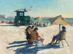 Carl Bretzke, Beach Day, oil, 12 x 16.