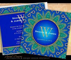 Egyptian Sun Sparkle Teal Gold Wedding Invitations