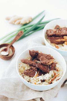 "Korean Bulgogi With Shiitake Mushroom Turnip ""Rice"" — thanks to the spicy bulgogi marinade and earthy mushrooms and turnips you won't even miss the rice in this dish"