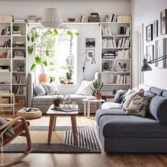 78 Brilliant Solution Small Apartment Living Room Decor Ideas and Remodel - Page 28 of 80 Ikea Living Room, Small Apartment Living, Small Living Rooms, Living Room Designs, Living Room Furniture, Ikea Furniture, Bookcase In Living Room, Furniture Ideas, Simple Furniture