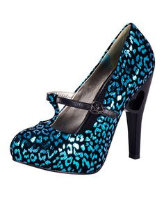 Take a look at this Turquoise & Black Leopard Luster Pump by T.U.K. on #zulily today!