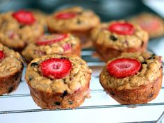 Strawberry + Banana Chocolate Chip Oatmeal Muffins made with greek yogurt! Only 150 calories and almost 5g of protein per muffin!