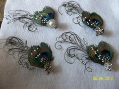 Peacock Feather Hair Fascinators for Bridesmaids!! Pic heavy tutorial! :  wedding hair accessories feather peacock fascinator teal brown navy green purple bridesmaids ceremony flowers diy 551171 981916858987 40603411 38945162 1765952368 N
