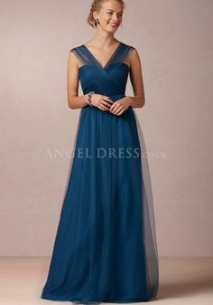 Floor Length V Neck Tulle A line Sleeveless Natural Waist Bridesmaid Dress