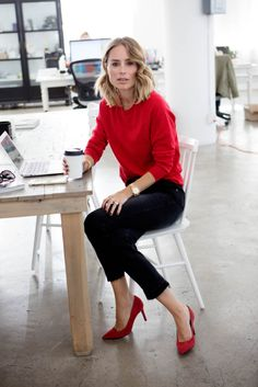 // ANINE BING beaded necklace –ANINE BING cashmere blend sweater – ANINE BING open hem jeans – ANINE BING elly pumps in red suede //