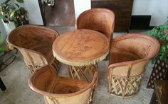 Vintage equipale table chair set very rare Aztec design Mexican furniture