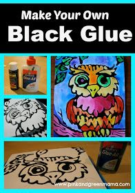 Black Glue and Watercolor. Add black acrylic paint to regular school glue. Draw outline in pencil and trace with the black glue or have kids free draw a picture. Let glue dry completely (overnight). Paint picture with watercolor paint.