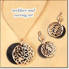 """AVON'S Lavish Woods Collection Necklace and Earring Gift Set Wood-like accents add a naturally stylish look to this collection set in goldtone. 16 1/2"""" L with 3 1/2"""" extender. Disc pendant, 1"""" diam. Pierced drops, 1 1/4"""" L. Item#: 991-685 Price: special $9.99 the set Will be $19.99. Order here: www.youravon.com/mhamilton39"""