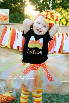 Candy Corn Cutie Halloween Tutu Outfit by TickleMyTutu on Etsy