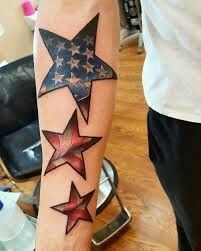 American flag stars tattoo, down the calf? Or the up the lower arm! Army Tattoos, Military Tattoos, Star Tattoos, Badass Tattoos, Celtic Tattoos, New Tattoos, Body Art Tattoos, Sleeve Tattoos, Skull Tattoos