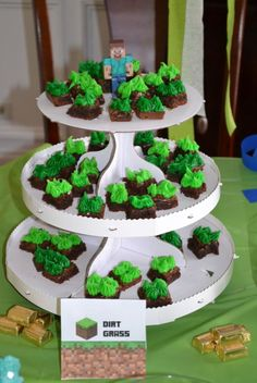 dirt grass brownies minecraft party food ideas