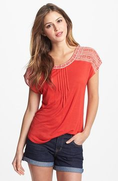Lucky Brand 'Adella' Embroidered Tee | Nordstrom