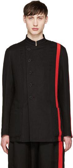 Image of Yohji Yamamoto Black and Red Blazer