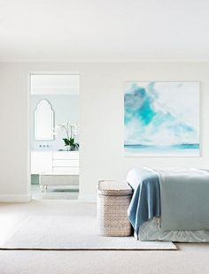 Ralph Lauren played a part in this beach house renovation, but so did the Hamptons and classic European design. Take a tour of this light-filled home. Coastal Bedrooms, Coastal Living, Coastal Cottage, Coastal Homes, Coastal Style, Coastal Decor, Aqua Color Palette, Beachfront House, Style Tile