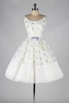 1950s White Chiffon Dress with Floral Embroidery