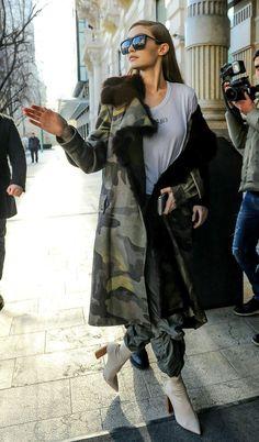 Gigi Hadid Oversized square sunnies and camo parka