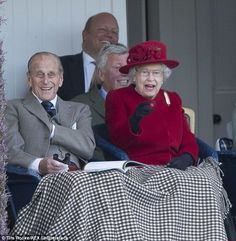 The Queen pictured with Prince Philip at the Braemar Highland Gathering in Scotland yesterday