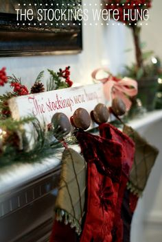 Stocking holders made from old door knobs!
