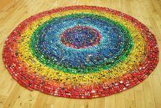 Toy cars in a circular rainbow