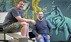 WhatsApp founders Brian Acton and Jan Koum at company headquarters in Mountain View, California.