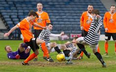 Stramash in the goalmouth during the SPFL League Two game between Queen's Park and Elgin City.