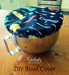 This fabric cover with elastic edging is a customized sewing project. It has versatile uses. It can cover rising dough in a mixer bowl, food in the fridge, or protect from flies when eating outdoors at a picnic.