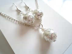 Set of 5 Bridesmaid Gift , White Pearl Pendant and Earring Set, Bridal Jewelry Set on Etsy, $27.70 AUD