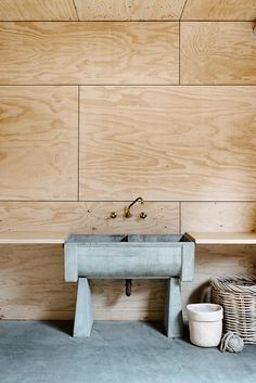 Plywood and Concrete - Japanese interiors. plywood wall paneling and a beautiful concrete sink Plywood Interior, Plywood Walls, Wood Panel Walls, Interior Walls, Wood Paneling, Plywood Ceiling, Paneling Ideas, Paneled Walls, Plywood Sheets