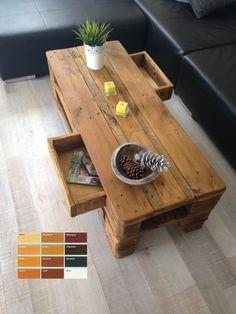 Palettenmbel Massivholz Wohnzimmer Couchtisch TV Sideboard Mit 2 Schubladen