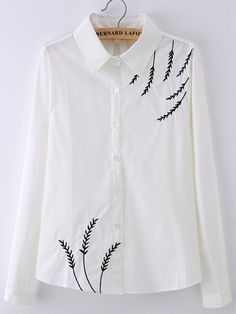 Buy Lapel Leaves Embroidered Blouse from abaday.com, FREE shipping Worldwide - Fashion Clothing, Latest Street Fashion At Abaday.com
