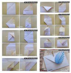 Envelope making with paper without Scissors Glue and Tape - DIY Origami Envelope. Diy Origami, Origami Heart, Origami Butterfly, Paper Crafts Origami, Origami Tutorial, Origami Flowers, Diy Paper, Origami Design, Envelope Origami