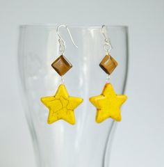 Sterling silver yellow earrings with star shaped by byVellamo, $16.00
