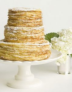 tiered crepe cake by Charleston Crepe Company.OMG this needs to be wedding cake. im obsessed with crepes. Food Cakes, Cupcake Cakes, Köstliche Desserts, Delicious Desserts, Birthday Cake For Women Simple, Creative Birthday Cakes, Cake Birthday, Dessert Crepes, Pancakes