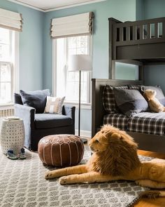 Blue and Gray Kids Room, Transitional, boy's room, Erin Gates Design