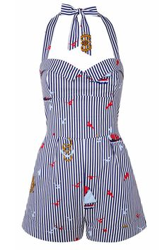 Tara Starlet nautical playsuit, 1950s, hawaiian, tiki, halterneck, vintage, blue