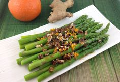 Rose Reisman shares her recipe for asparagus with orange sauce and toasted pecans. Toasted Pecans, Asparagus Recipe, Fabulous Foods, Junk Food, Salads, Yummy Food, Magazine, Orange, Vegetables